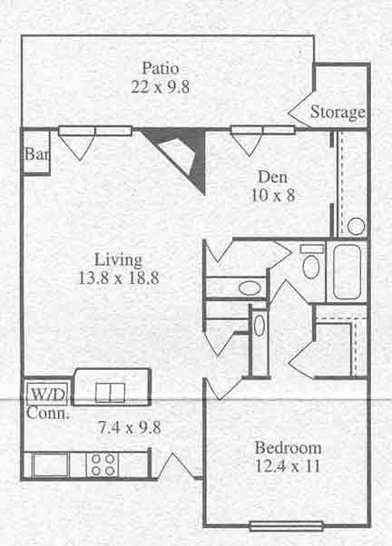 800 sq. ft. One Bedroom One Bath w/ Den floor plan
