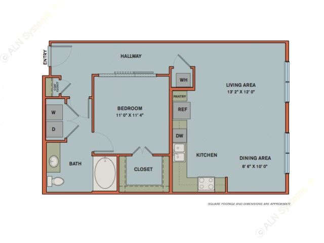 801 sq. ft. A9 floor plan
