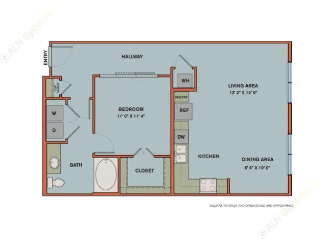 801 sq. ft. A9 floor plan