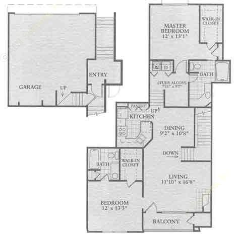 1,270 sq. ft. B3 floor plan