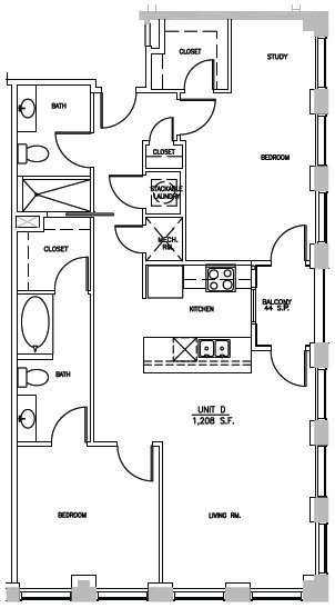 1,208 sq. ft. ELM D floor plan
