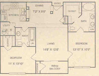 1,078 sq. ft. D1 floor plan
