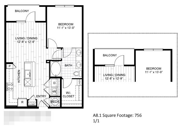 756 sq. ft. A8.1 floor plan