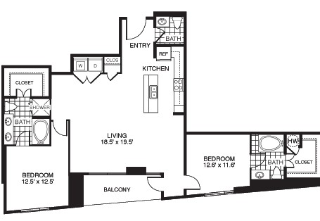 1,420 sq. ft. Noble/Tower floor plan
