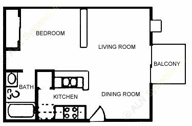 500 sq. ft. E2 floor plan