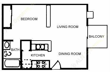500 sq. ft. E2 floor plan