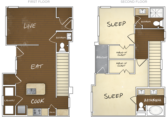 1,188 sq. ft. B2 floor plan
