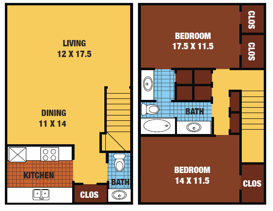 1,188 sq. ft. 60% floor plan