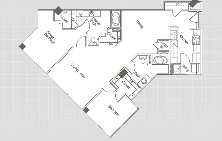 1,266 sq. ft. B5 floor plan