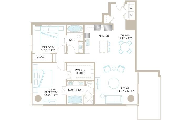 1,312 sq. ft. C7 floor plan