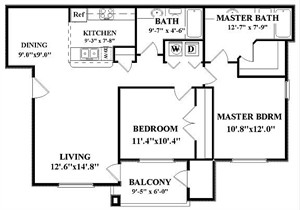1,005 sq. ft. Trinity-B2 floor plan