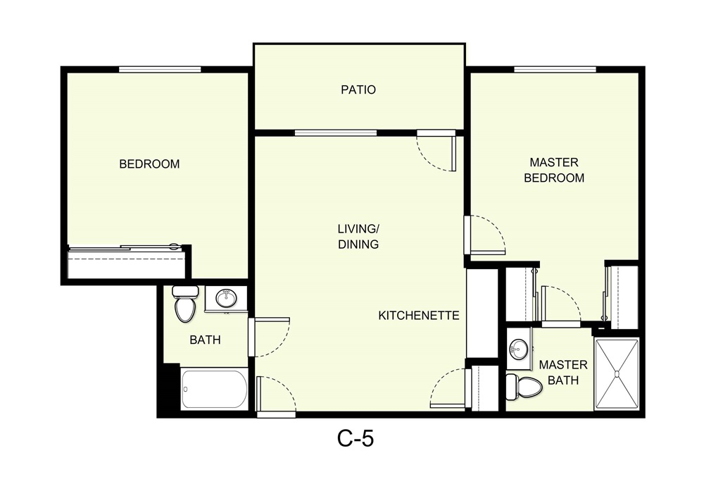 893 sq. ft. C5 floor plan