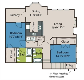 1,343 sq. ft. B2 floor plan