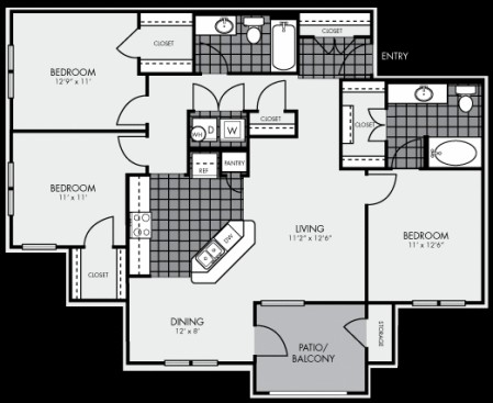 1,272 sq. ft. C1 floor plan