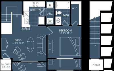 743 sq. ft. A3 floor plan