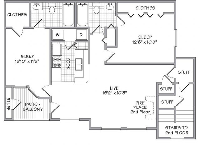 1,006 sq. ft. floor plan
