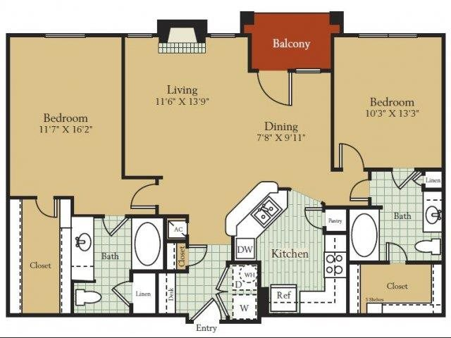 1,168 sq. ft. to 1,212 sq. ft. Valencia floor plan