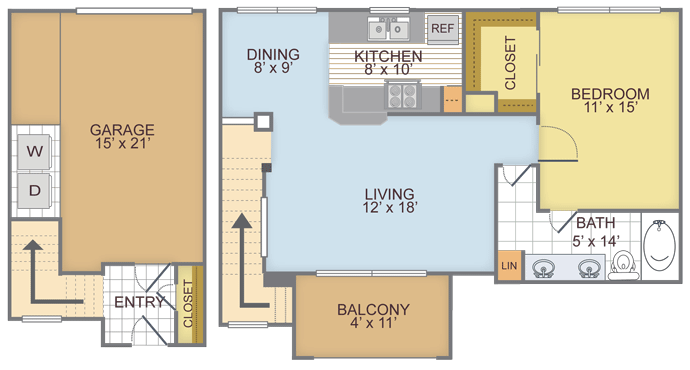 820 sq. ft. 1I floor plan