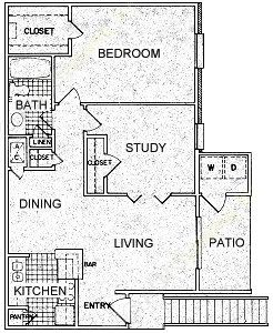 840 sq. ft. E floor plan