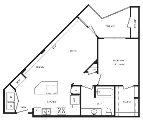 757 sq. ft. A7 floor plan