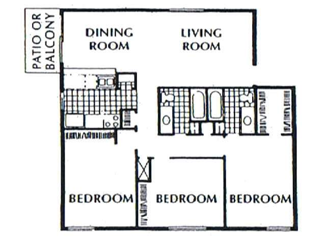 1,254 sq. ft. C1/C2 floor plan