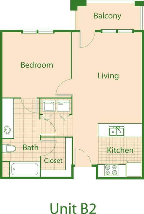 696 sq. ft. Robin/Mkt floor plan