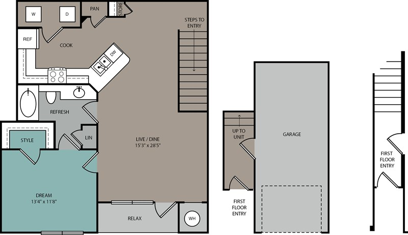 955 sq. ft. A2 U floor plan