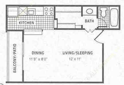 400 sq. ft. E1 floor plan