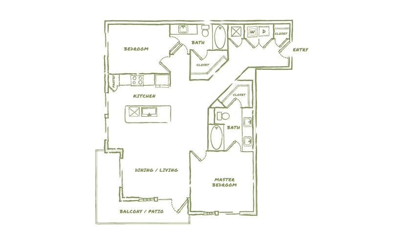 1,233 sq. ft. B2 floor plan