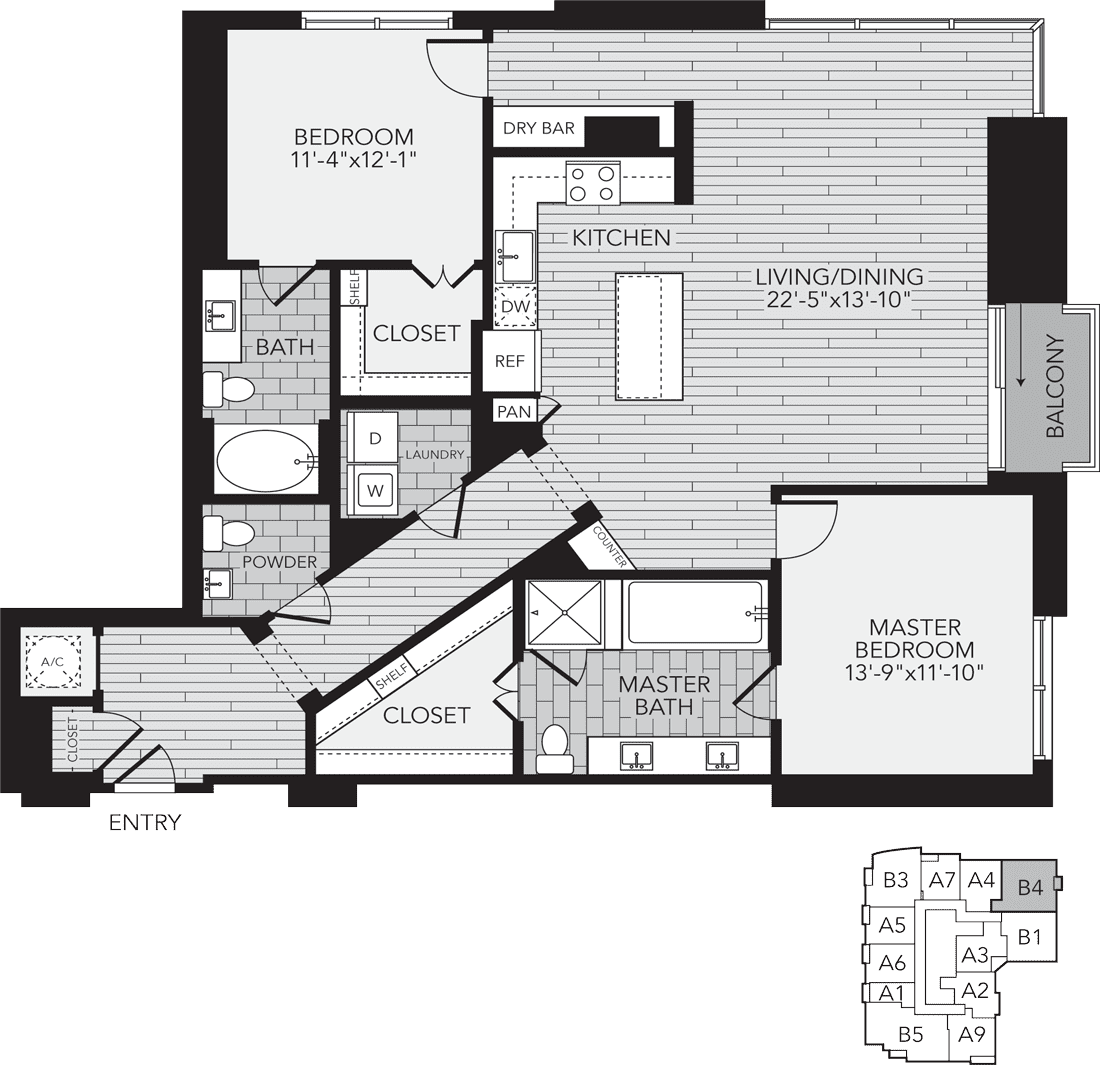 1,595 sq. ft. B4 floor plan