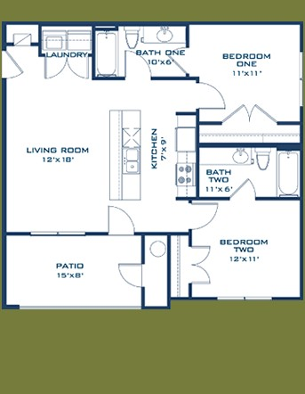848 sq. ft. Comal floor plan