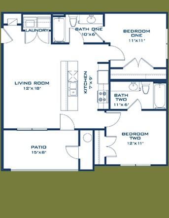 848 sq. ft. Comal floor plan