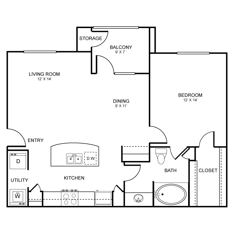 762 sq. ft. Santa Fe floor plan