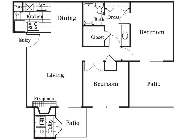 865 sq. ft. B2 floor plan