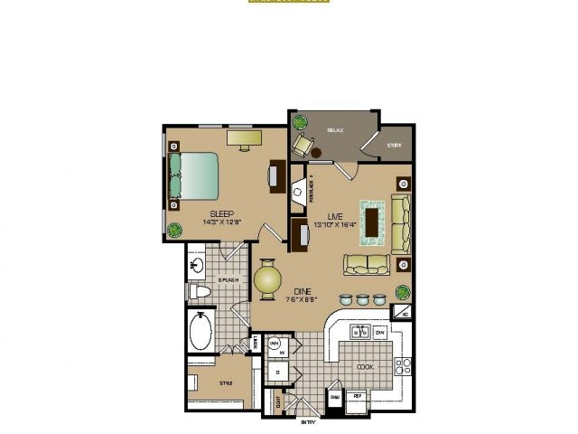 831 sq. ft. A1 FLAT floor plan