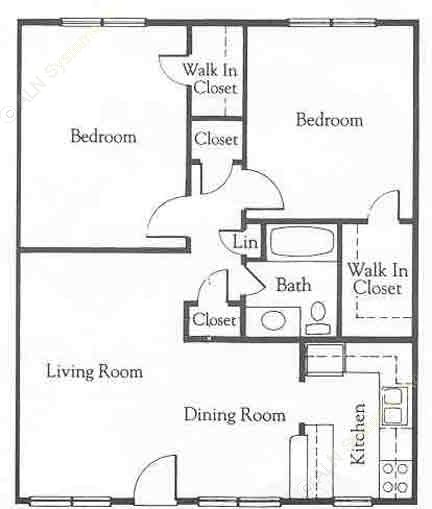 941 sq. ft. B4 floor plan