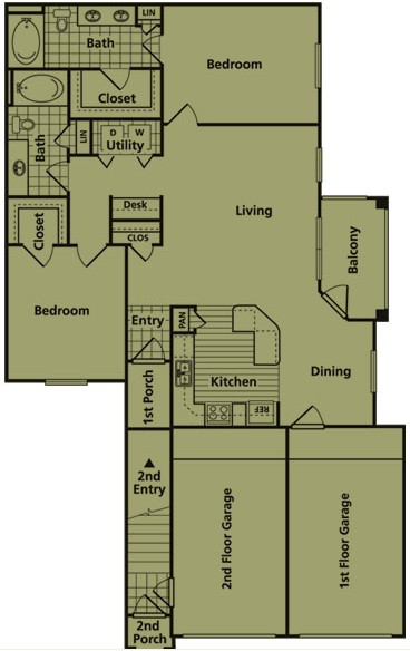 1,256 sq. ft. EG1 floor plan