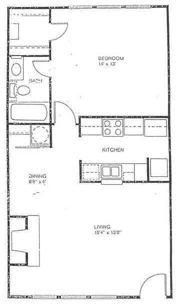 616 sq. ft. floor plan