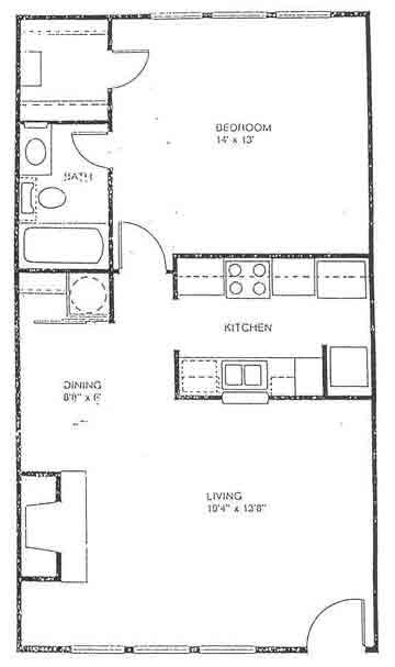 616 sq. ft. floor plan