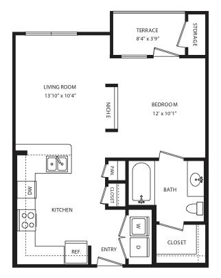 591 sq. ft. E2 floor plan