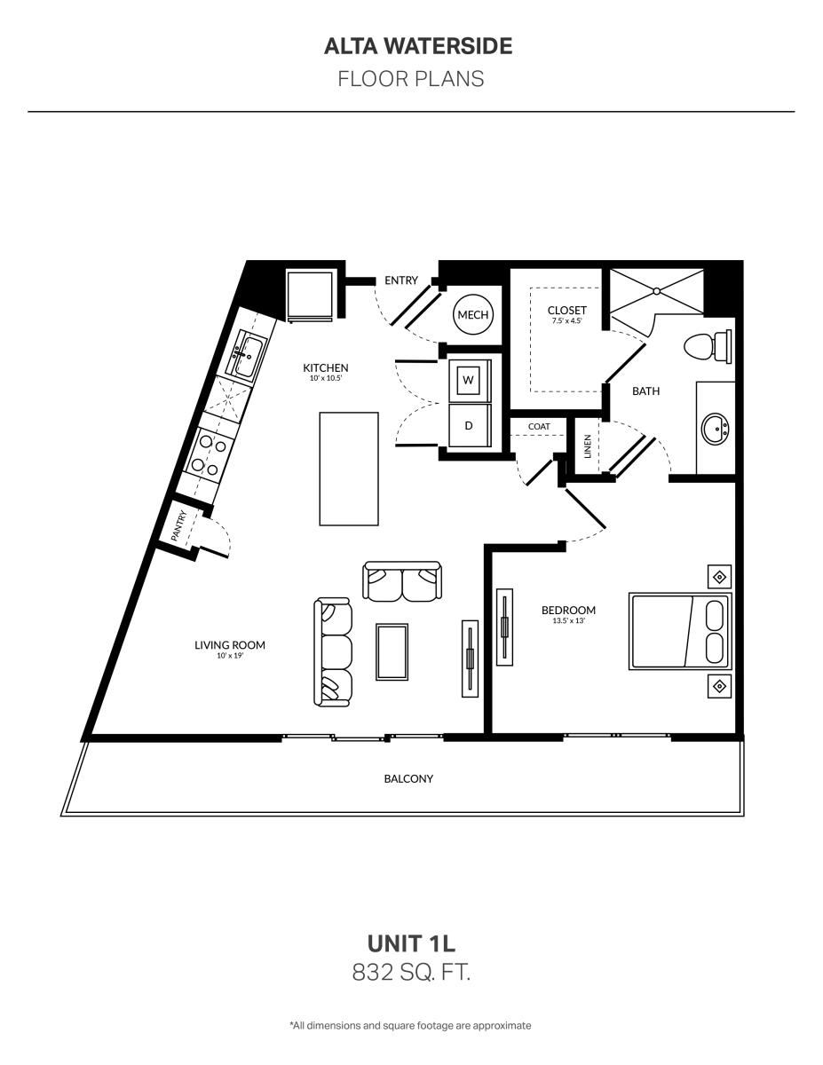 832 sq. ft. 1L floor plan