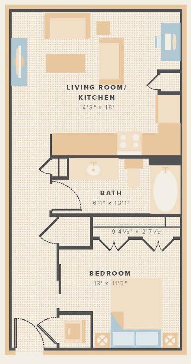 630 sq. ft. E1 floor plan