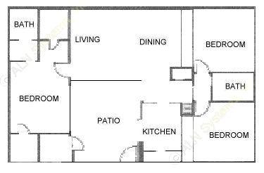 1,232 sq. ft. C floor plan