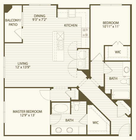 1,229 sq. ft. B5 floor plan
