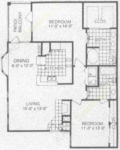 1,194 sq. ft. D3 floor plan
