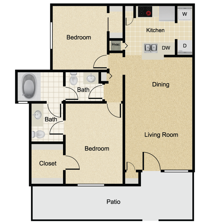 930 sq. ft. La Vida floor plan