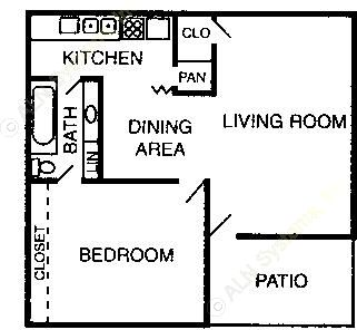 610 sq. ft. to 727 sq. ft. A1/A2 floor plan