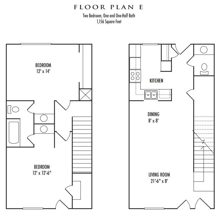 1,156 sq. ft. E floor plan