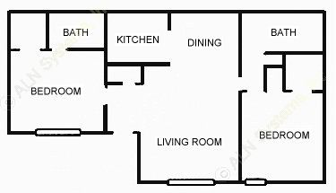 947 sq. ft. 2-2 floor plan