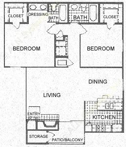 1,029 sq. ft. B floor plan